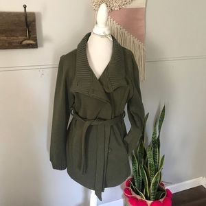 Mossimo supply co. Green peacoat with belt size L